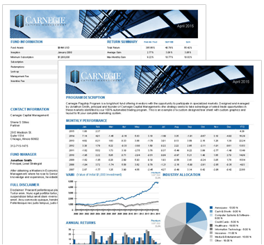 Hedge Fund Tear Sheet Design - Financial Marketing and Technology ...